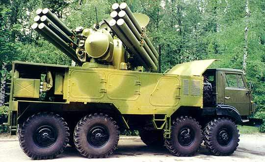 The Pantsyr-S1 air defence missile system.