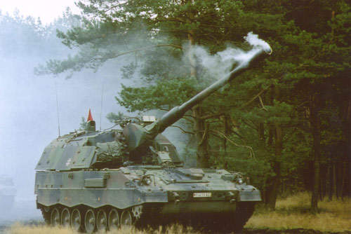 The PzH 2000 during firing trials in Germany using Denel Assegai shells in May 2001.