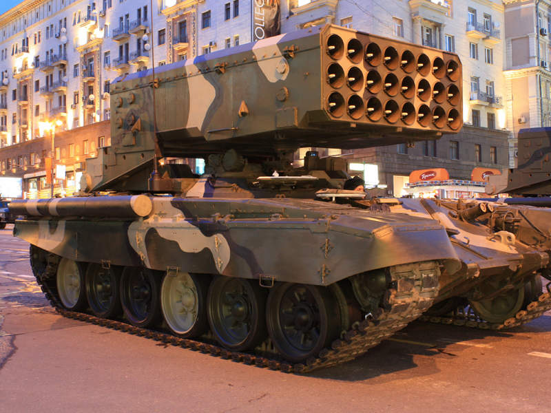 The TOS-1A Solntsepek MBRL system entered service in 2001. Image courtesy of Goodvint.
