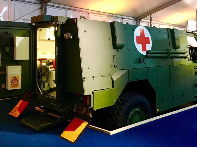 Bushmaster MR6 ambulance configuration on display at the International Armoured Vehicles (IAV) 2018 conference. Credit: Thales Group.