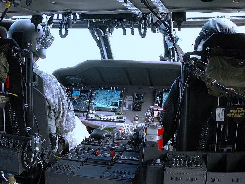 The UH-60M cockpit features Rockwell Collins open-architecture integrated cockpit flight and mission displays. Image courtesy of J.D. Leipold.