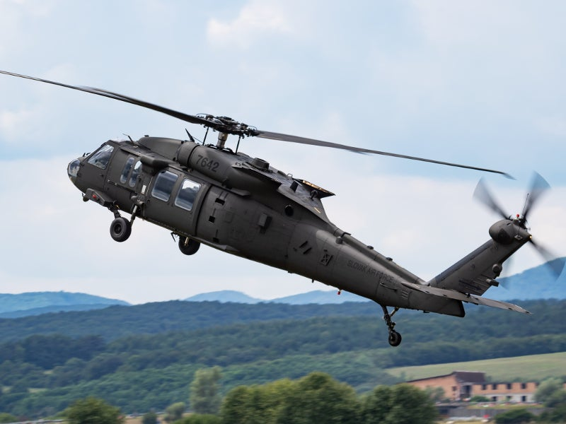 A UH-60M Black Hawk transport helicopter of the Slovak Air Force.