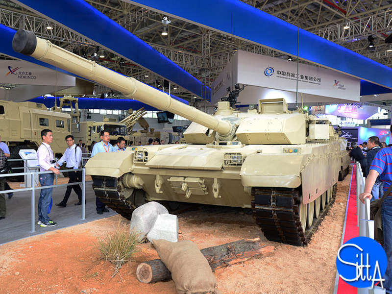 A model of the VT4 main battle tank was displayed at China International Aviation & Aerospace Exhibition 2014. Image: courtesy of Ministère des Armées.