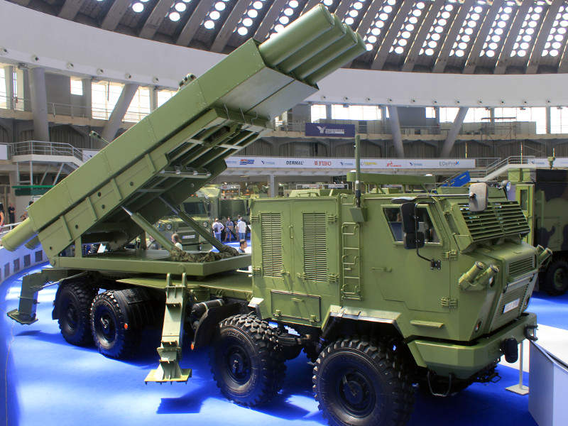 The Shumadia multiple launch rocket system (MLRS) was unveiled by Yugoimport at the Partner 2017 international defence fair. Image courtesy of Srđan Popović.