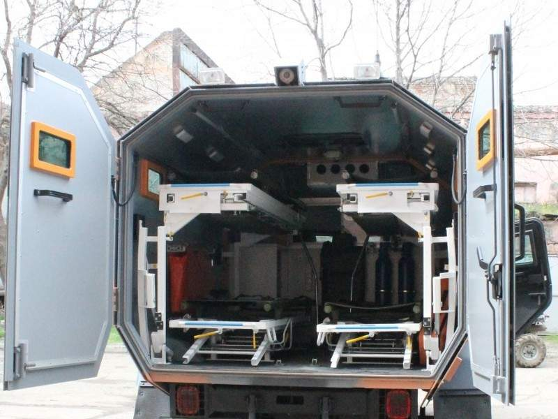 Didgori AMEV's rear medical compartment can accommodate up to four stretchers. Image courtesy of Delta International - company of scientific technical centre Delta.