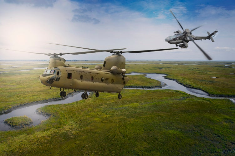 Chinook helicopter transports troops, artillery, supplies and equipment to the battlefield. Credit: Boeing.