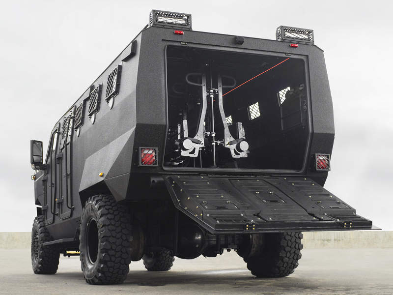 The vehicle is fitted with a hydraulic ramp at the rear. Image courtesy of INKAS Armored Vehicle Manufacturing.