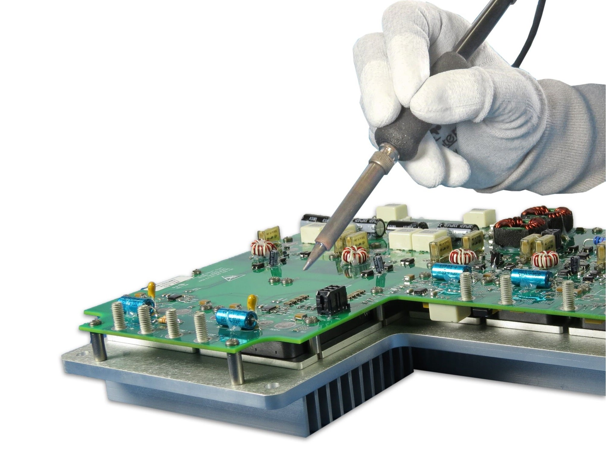 Power supply unit assembly – hand and board rect JPG