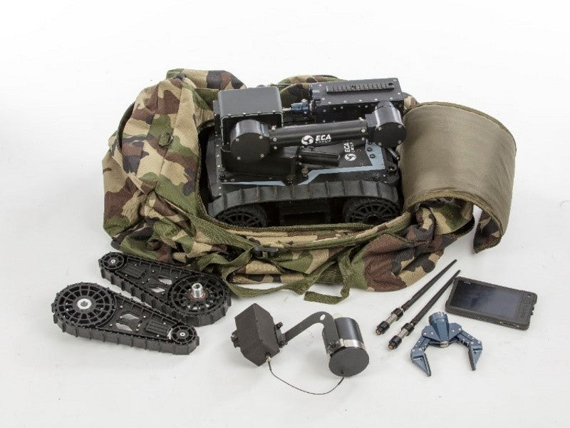 The Cameleon LG E UGV can be carried in a backpack by a single soldier. Image courtesy of ECA GROUP.