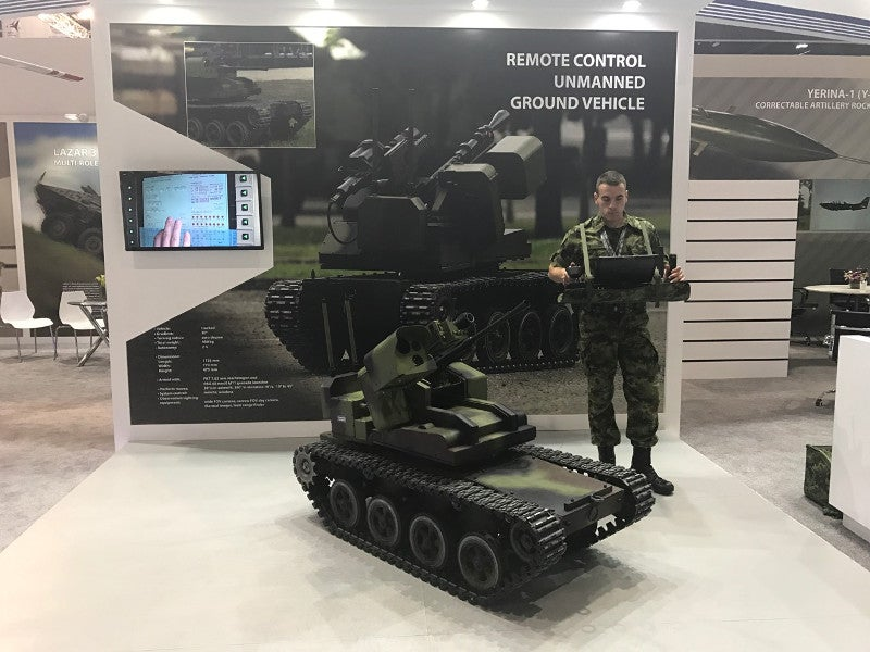 The UGV is remotely operated by a single personnel. Image courtesy of Ministry of Defence Republic of Serbia.