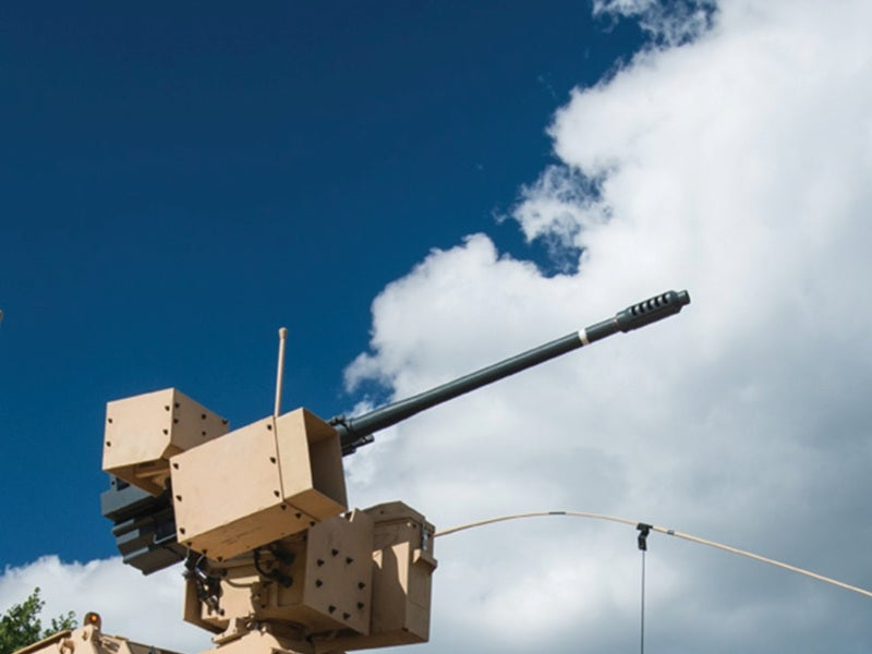 The MAPS unmanned ground vehicle is armed with a 30mm ATK M230 LF cannon. Image courtesy of Oshkosh Defense, LLC.