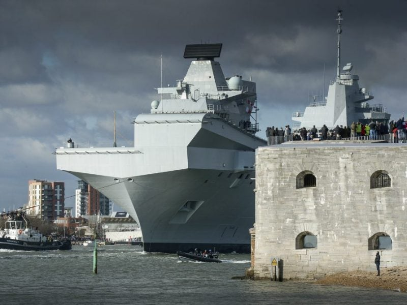 HMS QUEEN ELIZABETH LEAVES PORTSMOUTH FOR HELICOPTER TRIALS