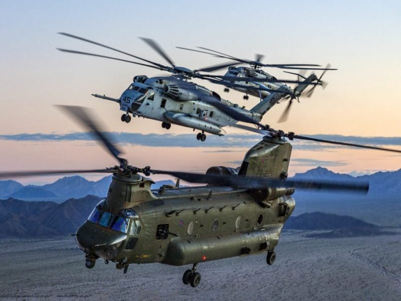 RAF CH-47 Chinook and US Marine CH-53 Sea Stallion