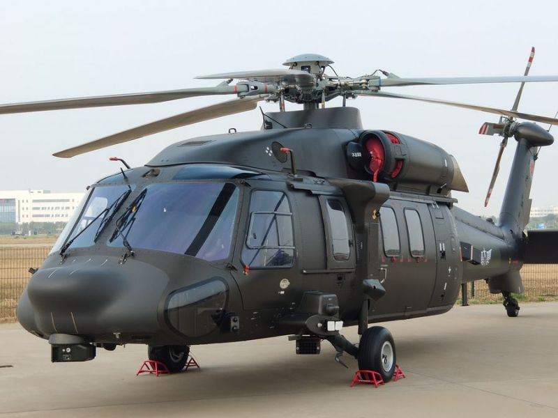 The Z-20 medium-lift helicopter was displayed at the China Helicopter Exposition held in Tianjin, in October 2019. Image courtesy of Xinhua/Hu Zhe.
