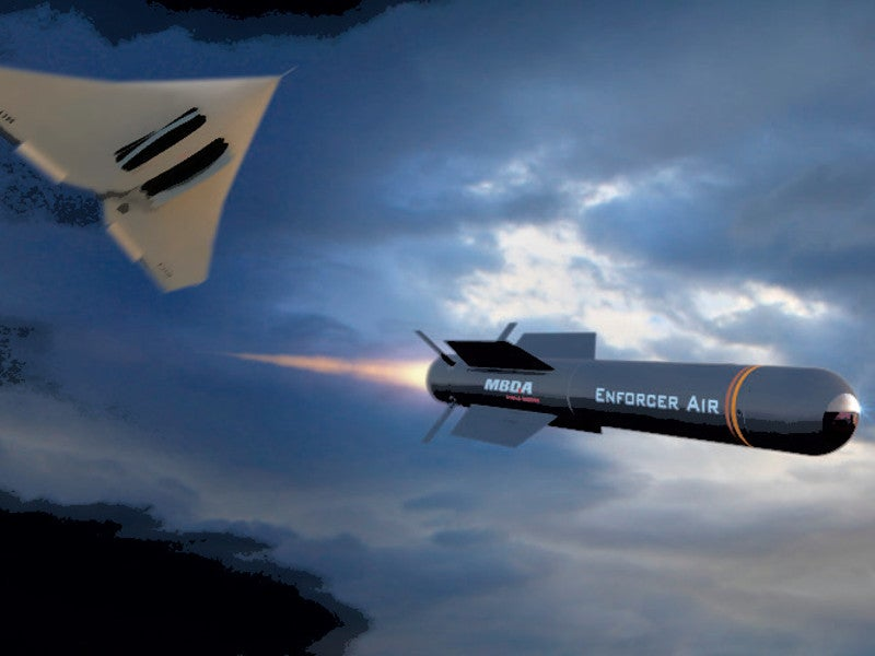 A graphical image depicting the firing of the air-launched Enforcer Air missile system from an aircraft. Credit: MBDA.