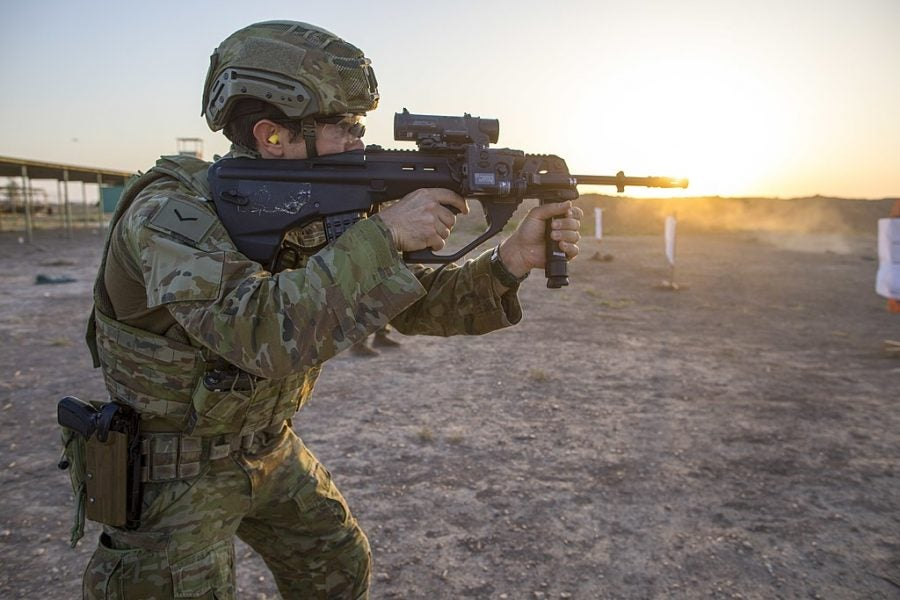 Designated as Enhanced F88 (EF88), the F90 rifle is in service with the Australian Army. Credit: US Army / Spc Audrey Ward.