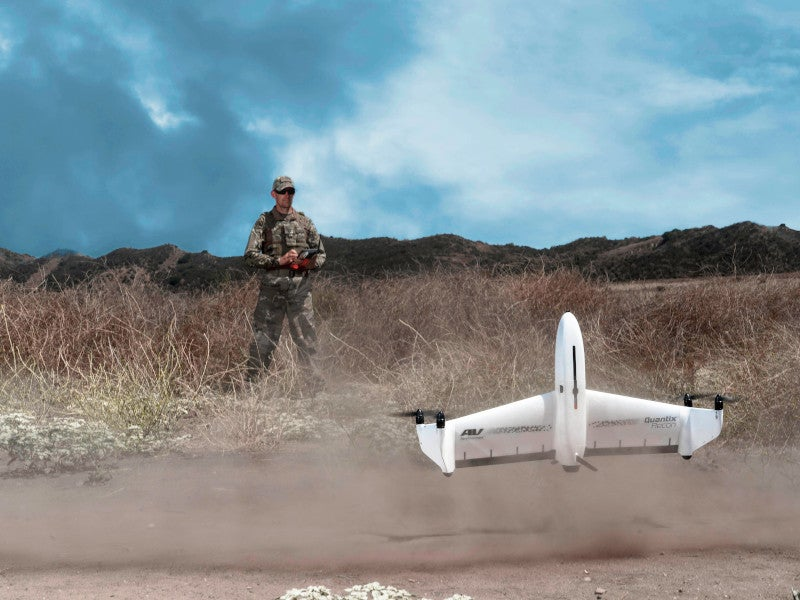 The wingspan of the Quantix Recon unmanned system is 97.5cm. Image courtesy of AeroVironment, Inc.
