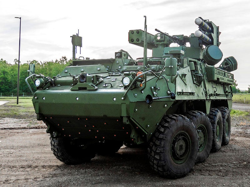 IM-SHORAD is installed on General Dynamics' Stryker A1 8x8 wheeled armoured platform. Image courtesy of General Dynamics Land Systems.