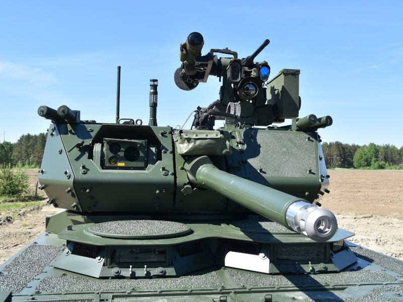 The Patria AMVXP armoured vehicle can be fitted with 120mm direct fire cannon systems. Image courtesy of Patria.