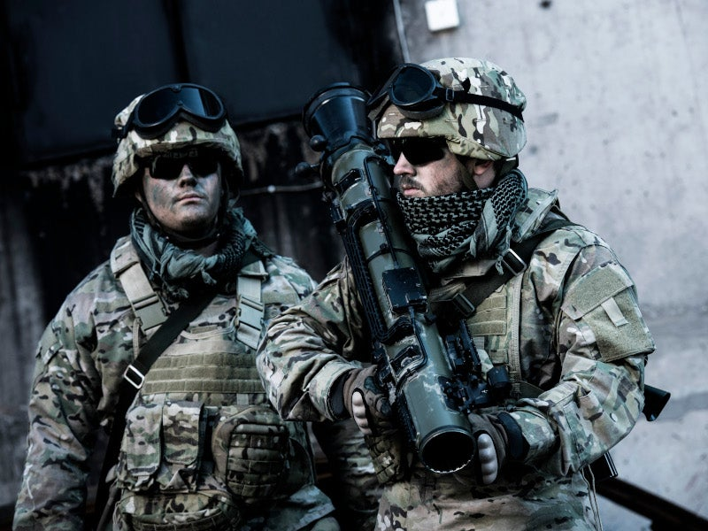 The weapon system is operated by two persons.