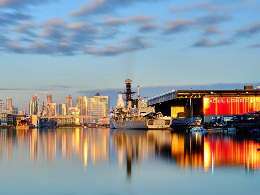 HMS Argyll at the Excel Centre in London today