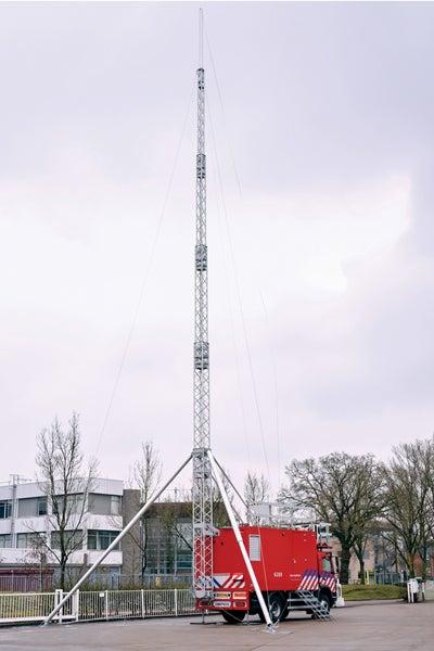 gemco mobile safety, 29mtr hoge telescopische mast op vrachtwagen