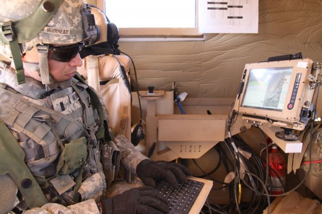 US soldier uses the chat function of Joint Capabilities