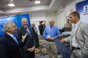 Under Secretary of Defense, Frank Kendall and Ranking member of the Armed Services Committee, Senator Jack Reed visited the Evans Capacitor Company booth during SENEDIA, Defense Innovation days.