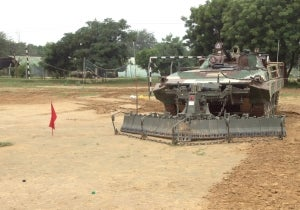 Pearson Engineering's Surface Mine Clearance System fitted to the Indian BMP tracked infantry fighting vehicle