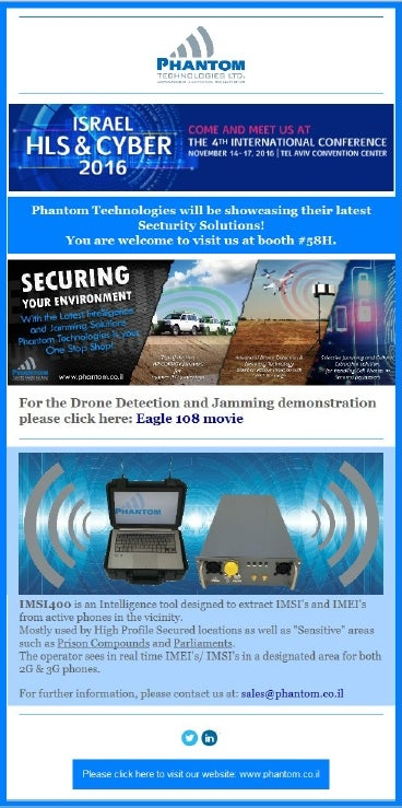 Phantom Technologies to exhibit at Israel HLS and Cyber 2016