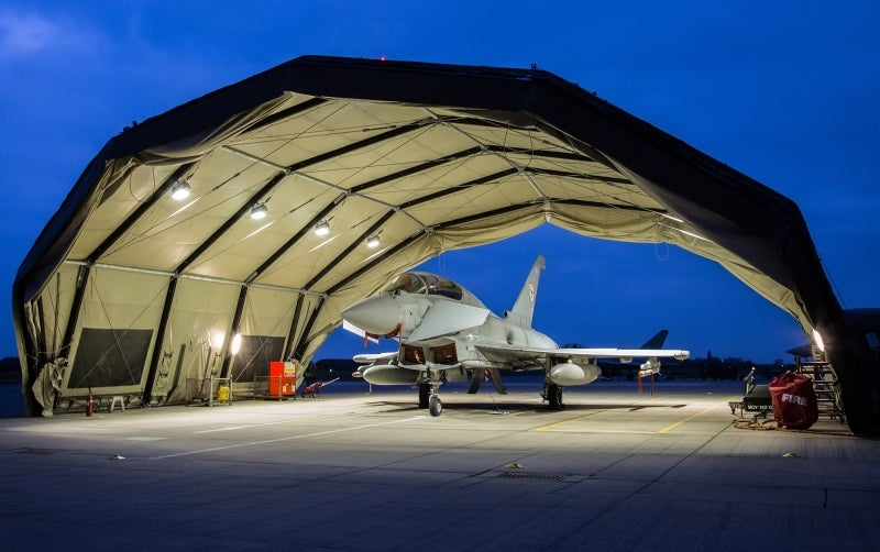 Rubb Military aircraft shelters plays role in trial of Typhoon aircraft at RAF Coningsby