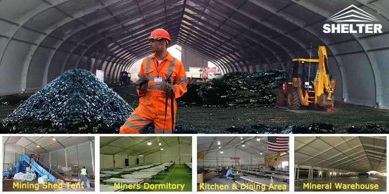 Coverall fabric building for mining
