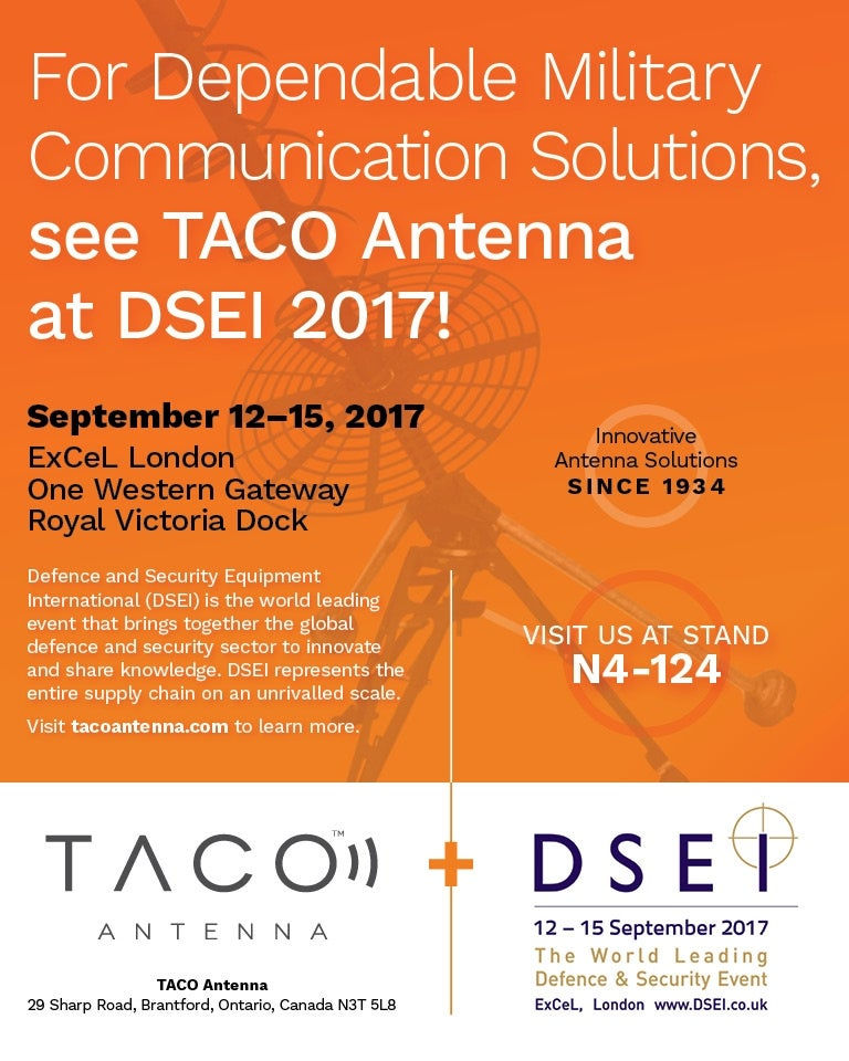 TACO exhibiting at DSEI 2017