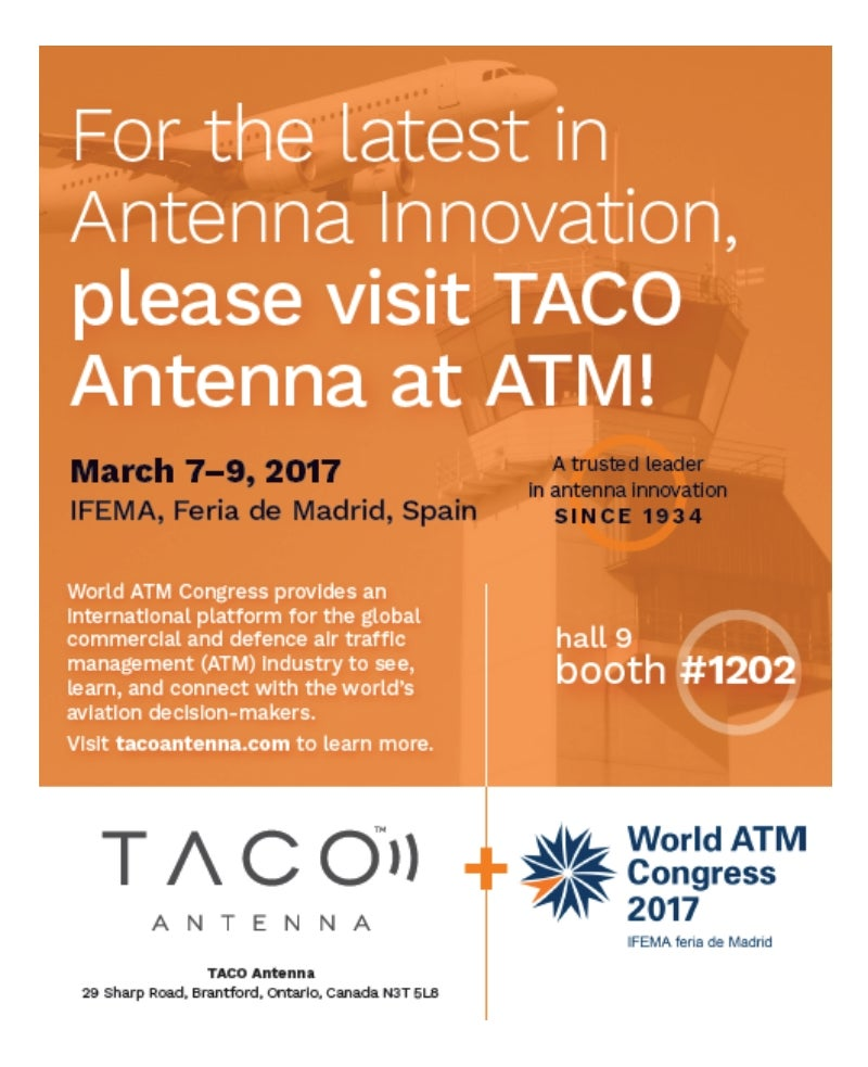 TACO exhibiting at World ATM Congress 2017