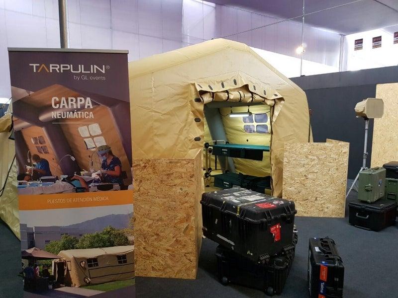 Tarpulin exhibits rapid deployment tent at SITDEF 2017