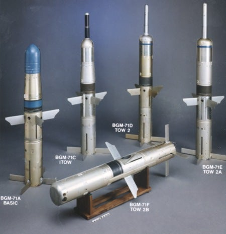 Tube-Launched, Optically-Tracked, Wireless (TOW) missile