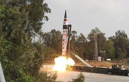 Agni-V long range ballistic missile launch